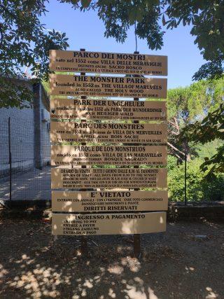 Il Parco dei Mostri di Bomarzo, regole
